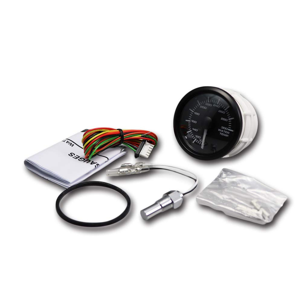 MOTOR METER RACING Electronic Water Temperature Gauge C 2 LED Backlit White Amber Waterproof Pin-Style Install