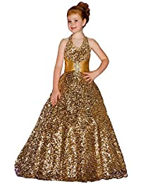Girls Halter Full Gold Sequins Children Party Pageant Dance Ball