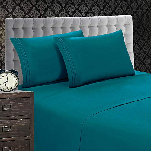 Elegant Comfort 1500 Thread Count Luxury Egyptian Quality Wrinkle and Fade Resistant 4-Piece Sheet Set, Queen, Turqouise