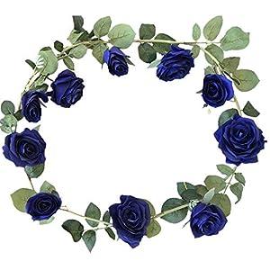 "DALAMODA 2pcs Royal Blue 10 Heads Rose Vine 72"" Length Artificial Fake Silk Flowers Rose Garland Plant Vine Home Garden Wall Wedding Decor (Royal Blue) 42"