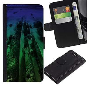 KingStore / Leather Etui en cuir / Sony Xperia Z1 Compact D5503 / Neon Beach Madera