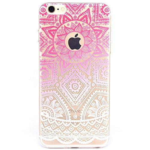 Grenache Rose - iPhone 7 Case,LsvtrUS Totem Henna Mandala Lace Clear Design Transparent Hybrid, Shock Absorbing, Soft TPU Bumper, Scratch Resistant Cover Case for iPhone 7 4.7