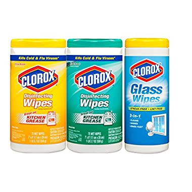 Clorox Disinfecting Wipes Value Pack, Scented, Two 75 Count Canisters, 150 Count Total, Plus Clorox Glass Wipes, 32 Count