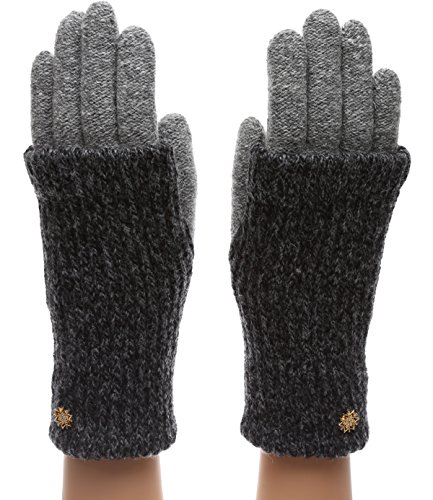 MIRMARU Womens Winter Wool Blend Double Layer Knitted Warm Gloves(OneSize, G01,Black)