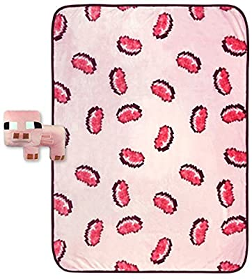 """Jay Franco Minecraft Pork Chop Plush Pillow and 40"""" Inch x 50"""" Inch Throw Blanket - Kids Super Soft 2 Piece Nogginz Set (Official Minecraft Product)"""