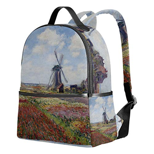(WIHVE School Backpacks Fields Of Tulip With Rijnsburg Windmill Monet Art School Shoulder Bag Bookbag)