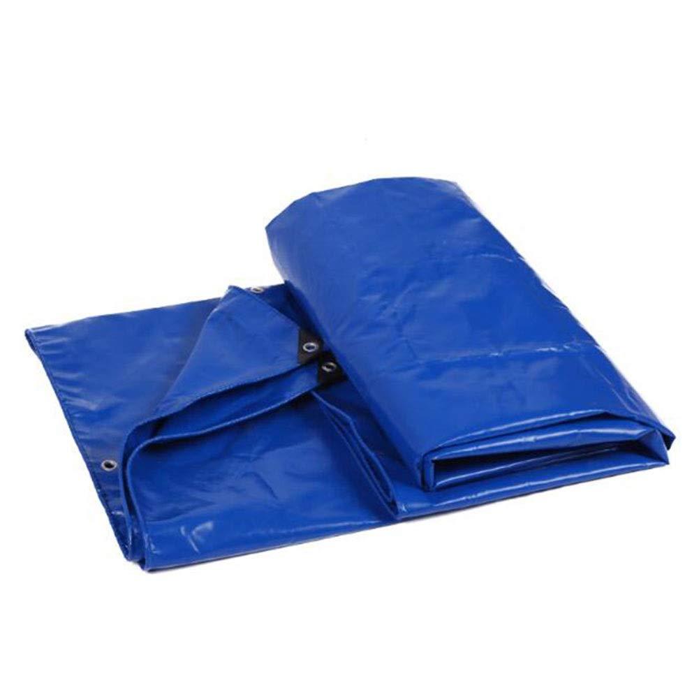 DALL ターポリン 両面防水 ヘビーデューティ PVC アウトドア レインカバー 耐摩耗性 550g \㎡ 厚さ0.5mm (Color : 青, Size : 3×4m) 青 3×4m