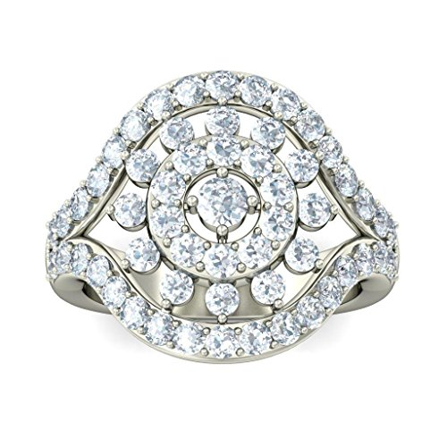 18 K Or Blanc, 1,57 CT TW avec zircons ronds Diamant (IJ | SI) Cocktail en diamant