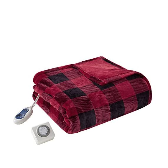 """True North by Sleep Philosophy Buffalo Plaid Electric Blanket Throw Ultra Soft Plush Auto Shut Off with 3 Heat Level Setting Controller, Oversized-5 Years Warranty, 60x70, Red - NEW TECHNOLOGY -- Our heated blanket utilizes state of the art Secure Comfort heated technology that adjusts the temperature of your throw based on overall temperature, spot temperatures and the ambient temperature of your room, ensuring a consistent flow of warmth. This unique technology also emits virtually no electromagnetic field emissions, so you can snuggle up with confidence FEATURES - Stylish comfort; heated blanket wrap comes with ultra-thin wires. The controller features 3 heat settings and 2-hour auto shut off. FABRIC - Super soft microlight fabric solid with premium pilling free fabrication. Oversized 60"""" x 70"""", larger than standard 50"""" x 60"""" throw. - blankets-throws, bedroom-sheets-comforters, bedroom - 51udtXr%2BAIL. SS570  -"""
