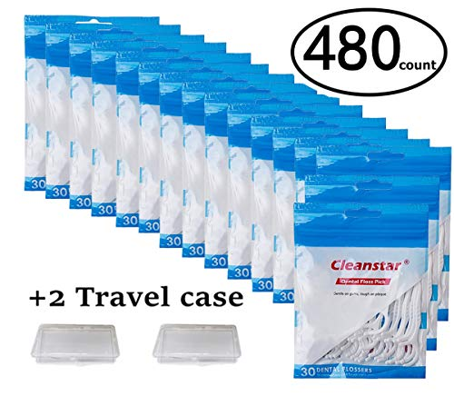 Cleanstar, 480 Count Toothpick Floss Sticks, Dental Floss Tooth Picks Flossers for Adult, 16 Pack(30Pieces Each - Toothpick Floss