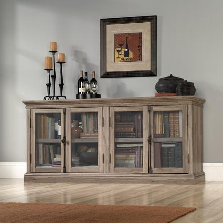Sauder Barrister Lane Credenza, for TVs up to 80'', Salt Oak 2 Adjustable Shelves
