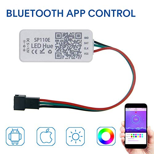 KORJO Bluetooth Controller App Control for Dream Color Led Strip Light with Chasing Effect RGB Rope Light (WS2811 WS2812B SK9822 etc.) 1024 Pixels ()