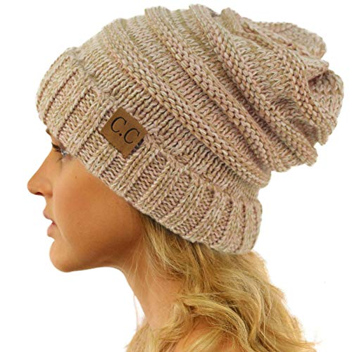 Winter Trendy Warm Oversized Chunky Baggy Stretchy Slouchy Skully Beanie Hat Mix Pink ()