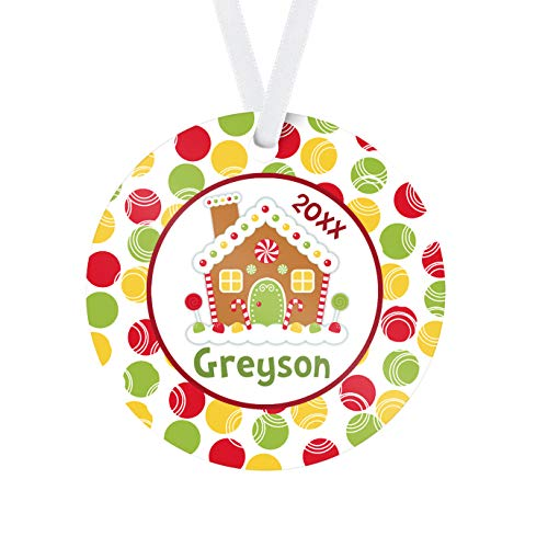 Gingerbread Ornament - Red Green Gumdrops Gingerbread House Personalized Name Christmas Ornament