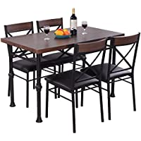 Giantex 5 Piece Modern Dining Set Table And 4 Chairs Wood...