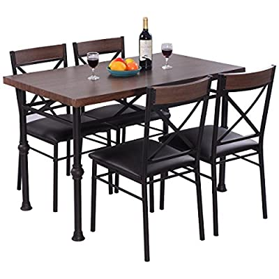 Giantex 5 Piece Modern Dining Set Table and 4 Chairs Wood Metal Rectangular with Full Padded Seat Home Kitchen Breakfast Dining Furniture - Deluxe-Looking Table Chair Set--The table chair set has a fancy looking, The elegant and luxury design brings your dining room, living room, garden, patio or balcony into next level. In addition, the table is super functional. It is spacious enough to hold any cups, fruits, snacks, newspaper, magazines etc. Reinforced Metal Frame-- We used reinforced metal bars as frame. Compared to other ordinary metal frame chairs, it is more stable and solid and does not warp or damage easily. Big Foot Protectors for Floor Protection -- Big foot protectors effectively protect your floor from the scratches. It is super user-friendly for you to freely place the table and chair at any place you need. - kitchen-dining-room-furniture, kitchen-dining-room, dining-sets - 51uduExkUvL. SS400  -