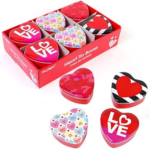 FLOMO Valentine's Day Heart Shaped Tin Box - Fashion, Conversation Hearts, 1965 LOVE