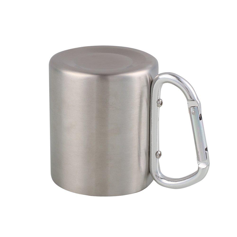 Forfar Taza que acampa portable 220 ml de acero inoxidable Acampar al aire libre taza de la taza Kit de gancho mosquet/ón Vaso botella