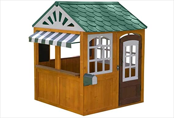 KidKraft- 405 casita de Juegos para jardín y Exterior al Aire Libre de Madera para niños Garden viewmcon Pizarra, Maceta y toldo de Estilo cafetería, ...