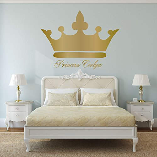 Personalized Name Wall Decals - Princess Crown With Custom Name Vinyl Art - Woman, Teenager, Girl, or Baby Decorations ()