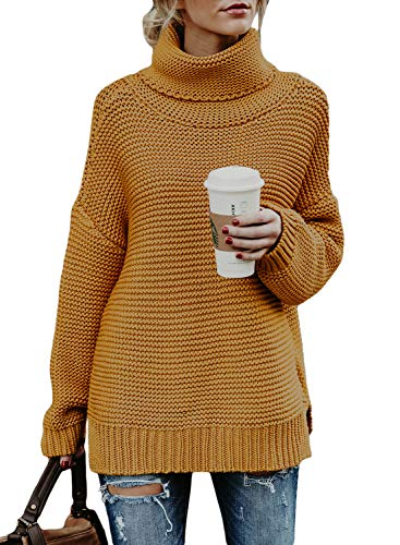 Asvivid Womens Casual Turtleneck Winter Warm Chunky Knit Jumper Pullover Sweater M (Gold Turtleneck Sweater)