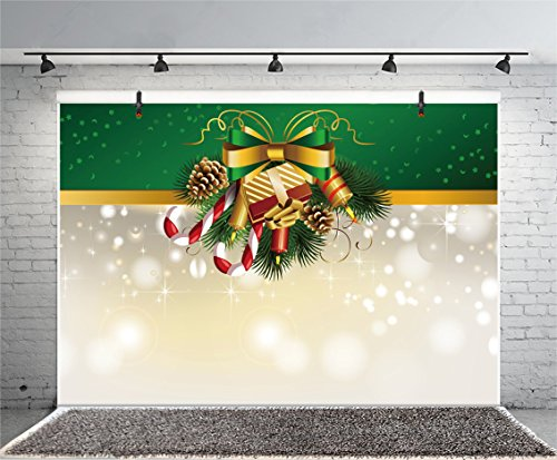 (Leyiyi 10x7ft Photography Backdrop Merry Christmas Wreath Pine Nuts Fir Branches Gifts Red Berry Balls Ribbon Sparkle Spots Hocky Candy Happy New Year Photo Portrait Vinyl Video Studio Prop)