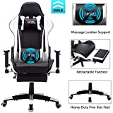 EDWELL Ergonomic Gaming Chair with Headrest,Lumbar Massage Support Racing Style PC Computer Chair Height Adjustable Swivel with Retractable Footrest Support Reclining Executive Office Chair(White)