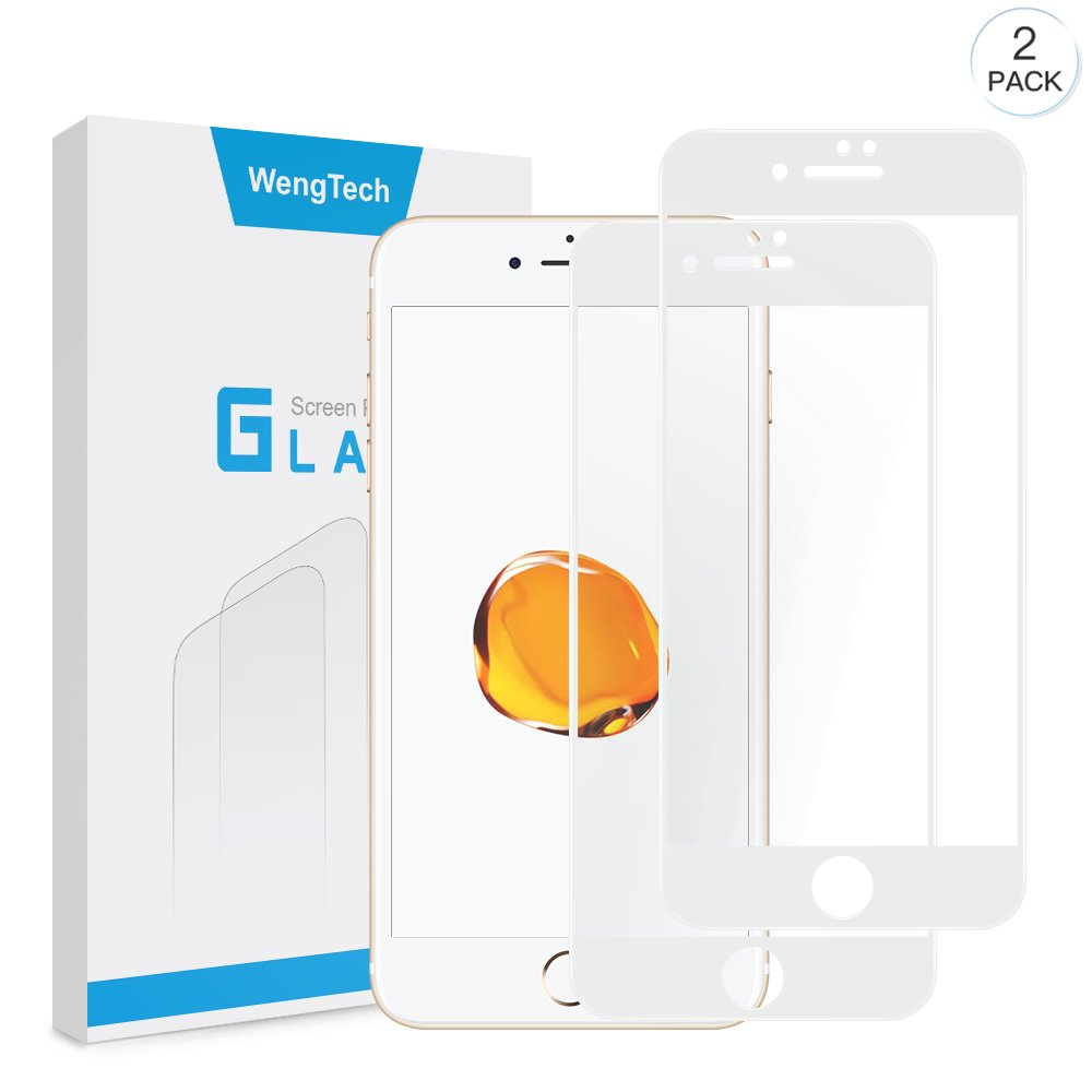 iPhone 8 Plus 7 Plus Screen Protector, WengTech 3D Curved 9H Hardness Bubble Free Anti-Scratch Touch Sensitive Tempered Glass Screen Protector Film for iPhone 8 Plus iPhone 7 Plus 5.5 inch (White, 2 Pack)