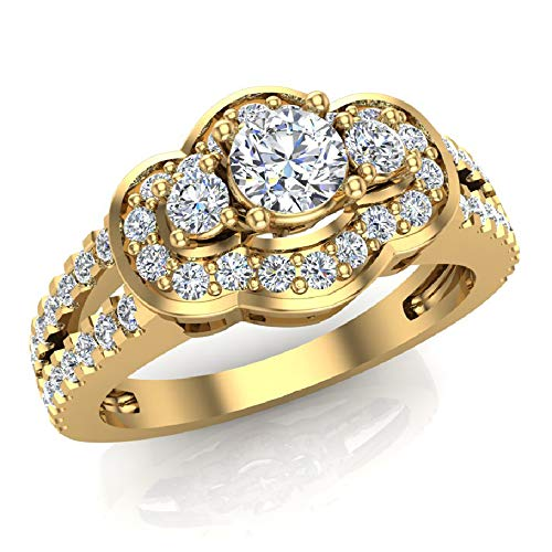 1.00 ct tw Three Stone Split Shank Wide look Anniversary Engagement Ring 14K Yellow Gold (Ring Size 5.5) -