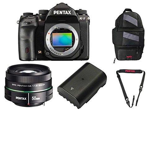 Pentax K-1 36.4MP Full-Frame CMOS Sensor DSLR Camera (w/50mm lens + Battery) + Pentax 85231 Sling Bag 2 & Pentax 85232 Padded DSLR Strap