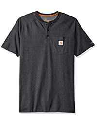 Carhartt Tall Men's Big & Tall Force Cotton Delmont Short Sleeve Henley Relaxed Fit