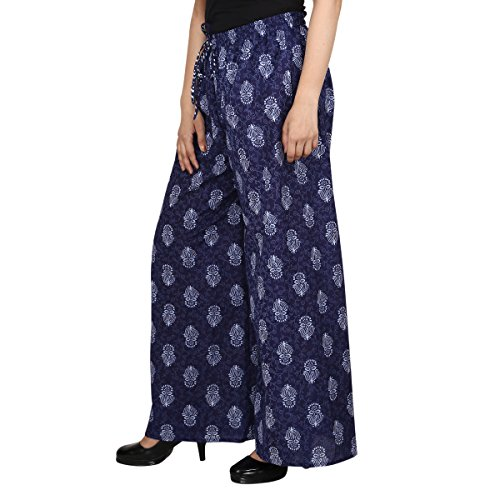 Jaipur Classic [JC] Printed Palazzo Pants Free Size Color (Indigo Blue 3)| Women Girls | Elasticated Waist | Long | Plus (Rayon Drawstring)