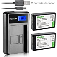 Kastar Battery (X2) & LCD Slim USB Charger for Olympus BLS-1, PS-BLS1 and Olympus E-400, E-410, E-420, E-450, E-600, E-620, E-P1, E-P2, E-P3, E-PL1, E-PL3, E-PM1 Camera