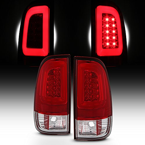 For 1997-2003 Ford F150 | 99-07 F250 F350 F450 F550 SuperDuty LED Tube Red Tail Lights Brake Lamps LH+RH Pair 01 Rh Tail Lamp