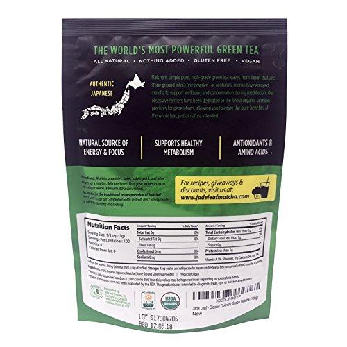 Jade Leaf - Organic Japanese Matcha Green Tea Powder - USDA Certified, Authentic Japanese Origin - Classic Culinary Grade (Smoothies, Lattes, Baking, Recipes) - Antioxidants, Energy [100g Value Size] by Jade Leaf Matcha (Image #4)