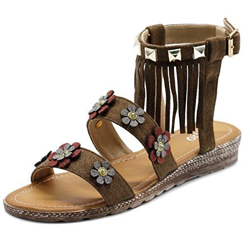 Ollio Women's Shoe Floral Ankle Fringe Strap Flat Sandal