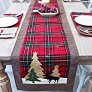 Maxspace Christmas Table Runners, Tree and Deer Table Runner for Family Christmas Holiday Table Christmas Dinn