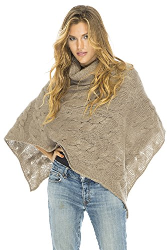 Cable Poncho Turtle Neck Toffee