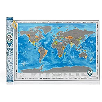 Amazoncom Scratch The World Scratch Off Your Map Of The - World map map