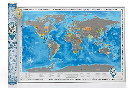 Detailed World Map with Scratch off & Stickers, Large Size, Tube Packaging (Travelers World Map)