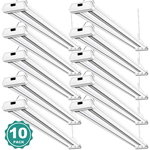 10 Pack 42W Linkable Led Shop Lights Addlon 4ft 48 Inch 5000K Led Garage Lighting, 300W Equivalent Double Integrated Florescent Light Fixture with Pull Chain Mounting