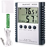 Temperature Humidity Meter Quimat Hygrometer Thermometer Humidity Monitor Temperature Gauge Thermostat Indoor/Outdoor Sensor Probe Battery Included(Grey)