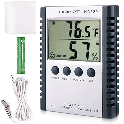 Temperature Humidity Meter Quimat Hygrometer Thermometer Humidity Monitor Temperature Gauge Thermostat Indoor/Outdoor Sensor Probe Battery Included(Grey) by Kuyi