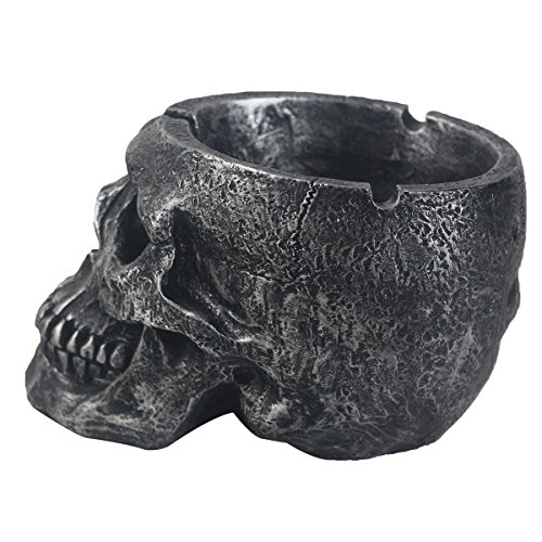 Cool Ashtray, Death Curse Human Skull Ashtray, Hand-painted Gothic Style Cigarette Ashtray for Men & Women. JHP