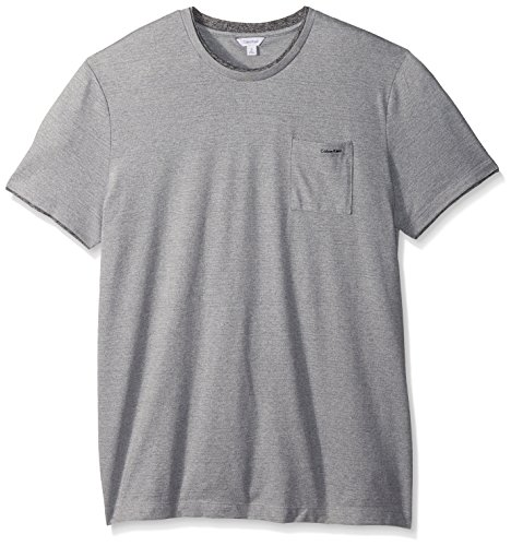 Calvin Klein Men's Short Sleeve Faux Double Layer Crew Neck T-Shirt, Silver Steel Heather, - Crewneck Single Layer