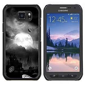 Cubierta protectora del caso de Shell Plástico    Samsung Galaxy S6 Active G890A    Luna Drácula Castillo de Halloween Bat @XPTECH