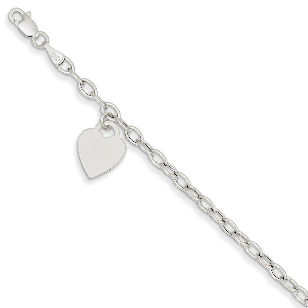 14k White Gold Dangle Heart Bracelet