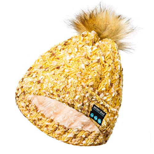 Shot Case Bluetooth Mütze mit Bommel und integrierten Kopfhörern für LG Q7, Universal-Knopf, Winter, Beige
