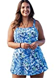 Woman Within Women's Plus Size Princess-Seam Swimdress Blue Tropical,26