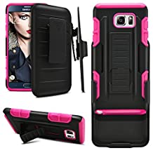 Galaxy Note 5 Case, MagicMobile Hybrid Heavy Duty Shockproof Dual Layer Rugged Hard PC+Soft Rubber Silicone Cover For Samsung Galaxy Note 5 With Protective Armor Belt Clip Case Cover [Black/Pink]